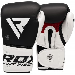 RDX BOXING GLOVES LEATHER S5 BLACK