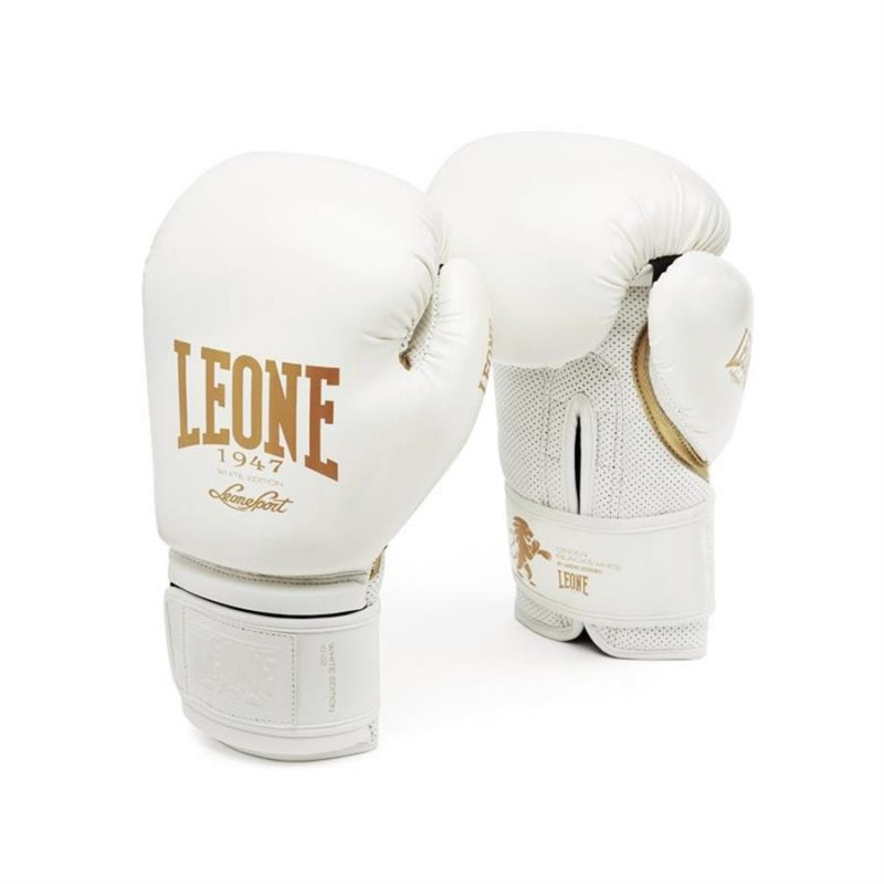Leone Black and White Boxing Gloves - GN059 (White)